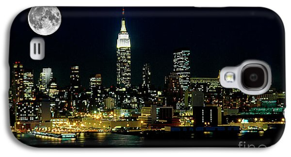 Skylines Photographs Galaxy S4 Cases - Full Moon Rising - New York City Galaxy S4 Case by Anthony Sacco