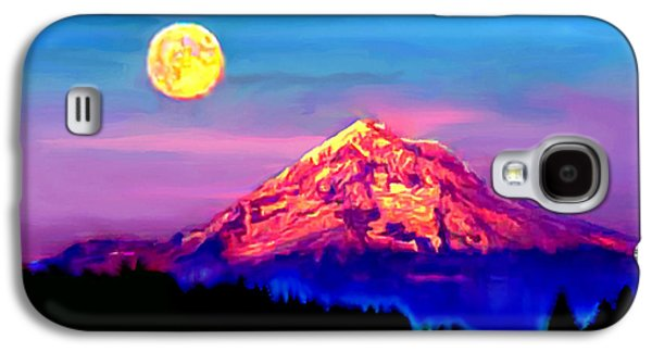 Painter Photo Photographs Galaxy S4 Cases - Full Moon Rising over Mount Hood Oregon Galaxy S4 Case by  Bob and Nadine Johnston