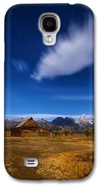 Moonlit Night Photographs Galaxy S4 Cases - Full Moonlit Mormon Barn at Grand Teton NP Galaxy S4 Case by Vishwanath Bhat
