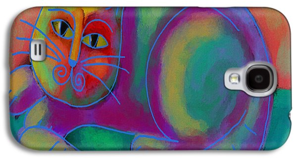 Abstract Digital Paintings Galaxy S4 Cases - Funky Cat Galaxy S4 Case by Jackie Ludtke