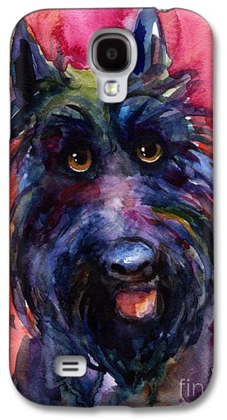 Scottish Dog Galaxy S4 Cases - Funny curious Scottish terrier dog portrait Galaxy S4 Case by Svetlana Novikova
