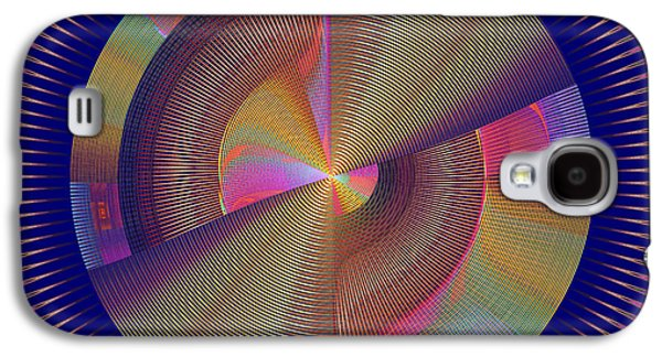 Concept Art Galaxy S4 Cases - Futuristic Blue Yellow And Pink Tech Disc Fractal Flame Galaxy S4 Case by Keith Webber Jr