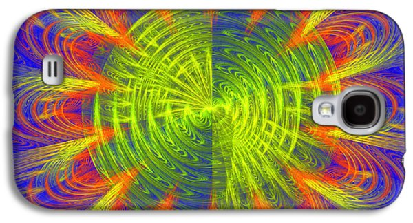 Abstract Digital Photographs Galaxy S4 Cases - Futuristic Disc Blue Red And Yellow Fractal Flame Galaxy S4 Case by Keith Webber Jr