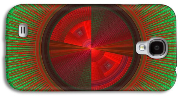 Concept Art Galaxy S4 Cases - Futuristic Green And Red Tech Disc Fractal Flame Galaxy S4 Case by Keith Webber Jr