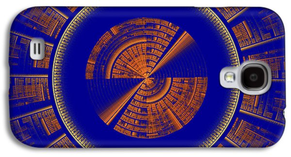 Concept Art Galaxy S4 Cases - Futuristic Tech Disc Blue And Orange Fractal Flame Galaxy S4 Case by Keith Webber Jr