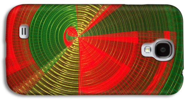 Concept Art Galaxy S4 Cases - Futuristic Tech Disc Green and Red Fractal Flame Galaxy S4 Case by Keith Webber Jr