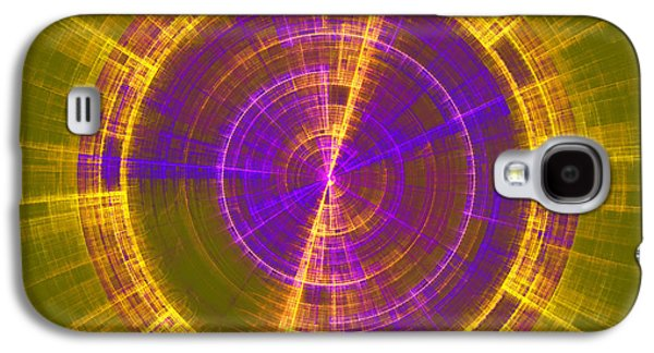Concept Art Galaxy S4 Cases - Futuristic Tech Disc Green Yellow And Blue Fractal Flame Galaxy S4 Case by Keith Webber Jr