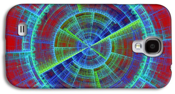 Concept Art Galaxy S4 Cases - Futuristic Tech Disc Red And Blue Fractal Flame Galaxy S4 Case by Keith Webber Jr