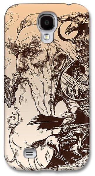 Ink Drawing Drawings Galaxy S4 Cases - gandalf- Tolkien appreciation Galaxy S4 Case by Derrick Higgins