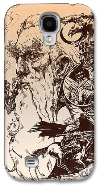 Lines Drawings Galaxy S4 Cases - gandalf- Tolkien appreciation Galaxy S4 Case by Derrick Higgins