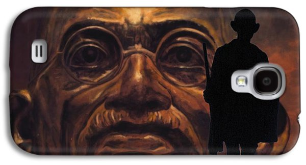 Statue Portrait Mixed Media Galaxy S4 Cases - Gandhi - the walk Galaxy S4 Case by Richard Tito