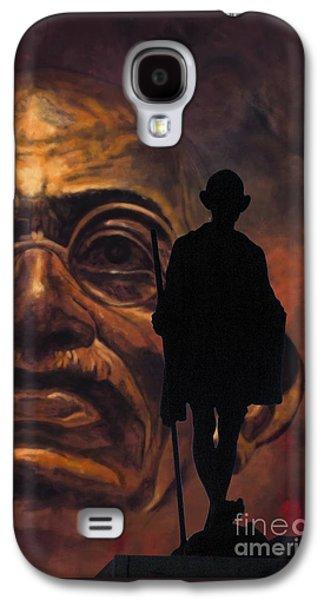 Statue Portrait Mixed Media Galaxy S4 Cases - Gandhi - the walk Galaxy S4 Case by Richard Tito