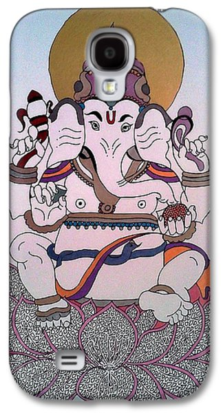Religious Drawings Galaxy S4 Cases - 1 Ganesh Galaxy S4 Case by Kruti Shah