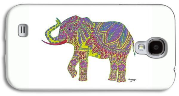 Indian Ink Galaxy S4 Cases - Ganesha in Yellow Galaxy S4 Case by Alexandra Nicole Newton