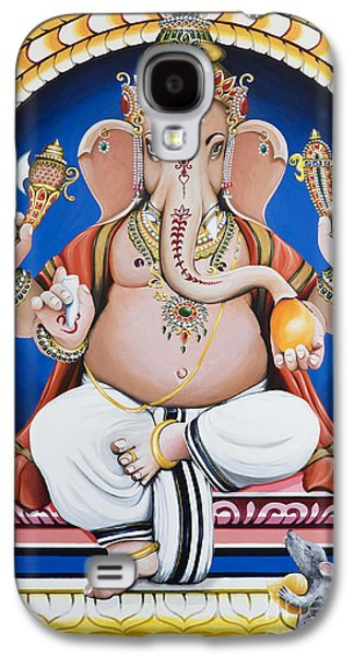 Tim Paintings Galaxy S4 Cases - Ganesha Painting Galaxy S4 Case by Tim Gainey