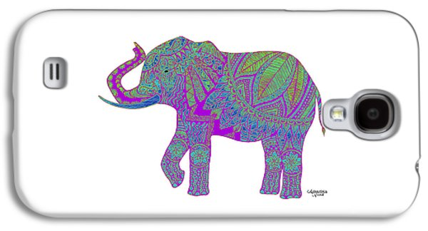 Indian Ink Galaxy S4 Cases - Ganesha - Purple Galaxy S4 Case by Alexandra Nicole Newton