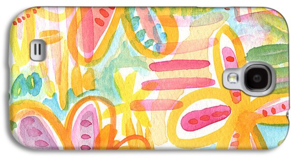 Flower Design Galaxy S4 Cases - Garden Party- Abstract flower painting Galaxy S4 Case by Linda Woods