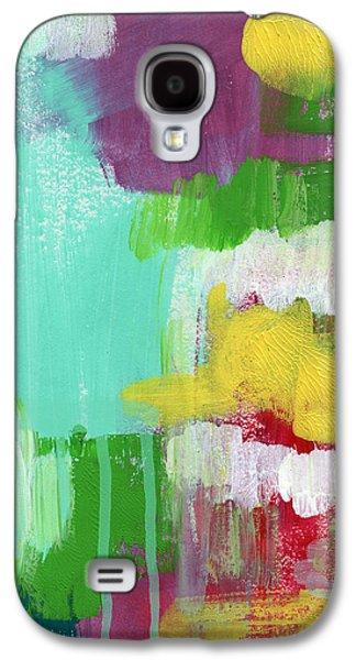 Colorful Abstract Galaxy S4 Cases - Garden Path- Abstract Expressionist Art Galaxy S4 Case by Linda Woods