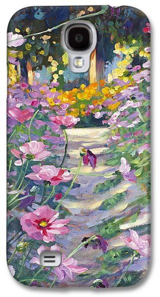 Pathways Paintings Galaxy S4 Cases - Garden Path of Cosmos Galaxy S4 Case by David Lloyd Glover