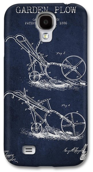 Plow Galaxy S4 Cases - Garden Plow Patent from 1886 - Navy Blue Galaxy S4 Case by Aged Pixel