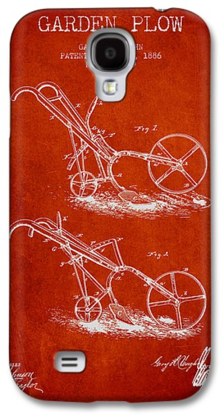 Plow Galaxy S4 Cases - Garden Plow Patent from 1886 - Red Galaxy S4 Case by Aged Pixel