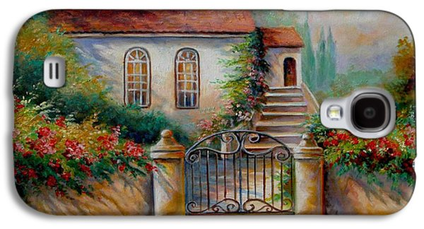 Garden Scene Galaxy S4 Cases - Garden scene with villa and gate Galaxy S4 Case by Gina Femrite