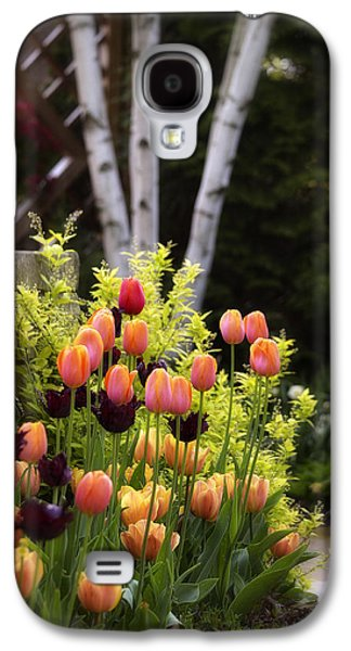 Garden Scene Galaxy S4 Cases - Garden Tulips Galaxy S4 Case by Julie Palencia