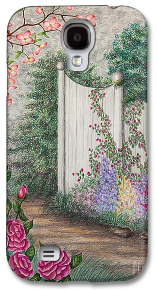 Fence Drawings Galaxy S4 Cases - Garden Walkway Galaxy S4 Case by Lena Auxier