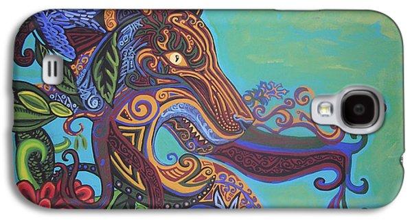 Zodiac Paintings Galaxy S4 Cases - Gargoyle Lion Galaxy S4 Case by Genevieve Esson