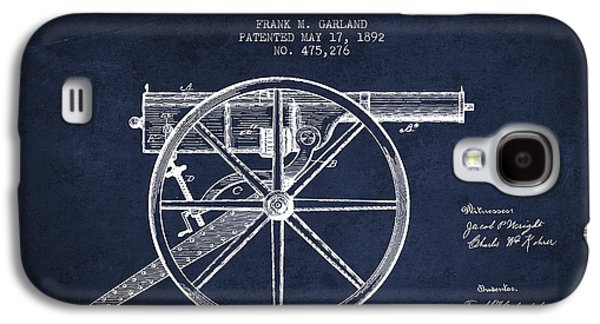 Garland Machine Gun Patent Drawing From 1892 - Navy Blue Galaxy S4 Case by Aged Pixel