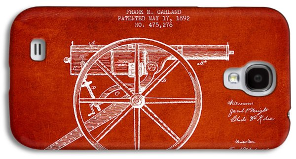 Machine Galaxy S4 Cases - Garland Machine Gun Patent Drawing from 1892 - Red Galaxy S4 Case by Aged Pixel