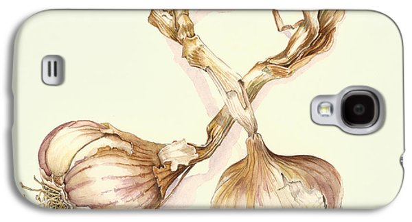 Watercolor Drawings Galaxy S4 Cases - Garlic bulbs Galaxy S4 Case by Alison Cooper