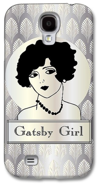 Jordan Drawings Galaxy S4 Cases - GATSBY GIRL in silver and pearl Galaxy S4 Case by Cecely Bloom