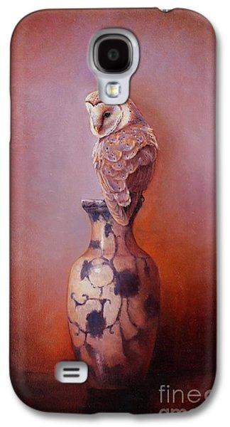 Barn Paintings Galaxy S4 Cases - Gazing - Barn Owl Galaxy S4 Case by Lori  McNee