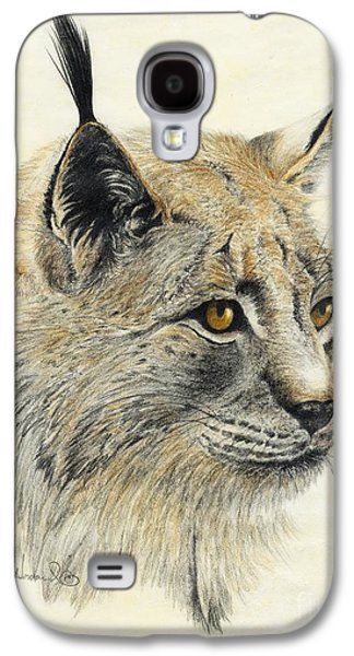 Bobcats Drawings Galaxy S4 Cases - Gazing Lynx Galaxy S4 Case by Phyllis Howard