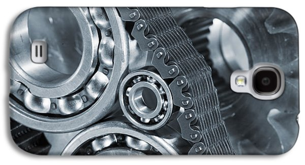 Gear Photographs Galaxy S4 Cases - Gears And Cogs Titanium And Steel Power Galaxy S4 Case by Christian Lagereek