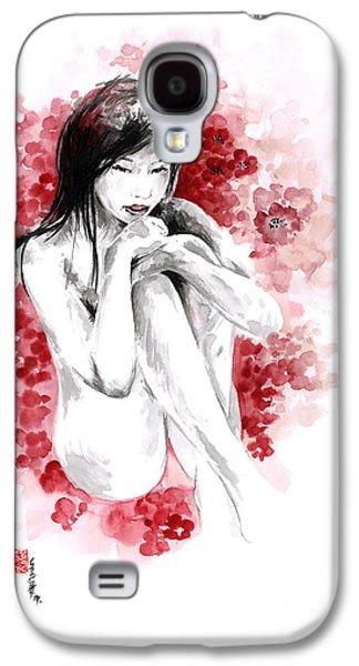Cherry Blossoms Drawings Galaxy S4 Cases - Sakura - japanese woman. Galaxy S4 Case by Mariusz Szmerdt