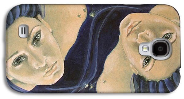 Constellations Paintings Galaxy S4 Cases - Gemini from Zodiac series Galaxy S4 Case by Dorina  Costras
