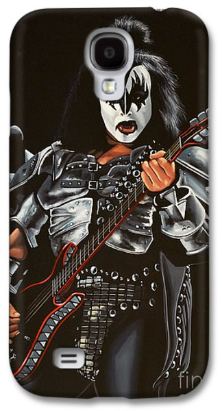 Realistic Art Paintings Galaxy S4 Cases - Gene Simmons of Kiss Galaxy S4 Case by Paul  Meijering