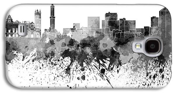 Genoa Skyline In Black Watercolor On White Background Galaxy S4 Case by Pablo Romero