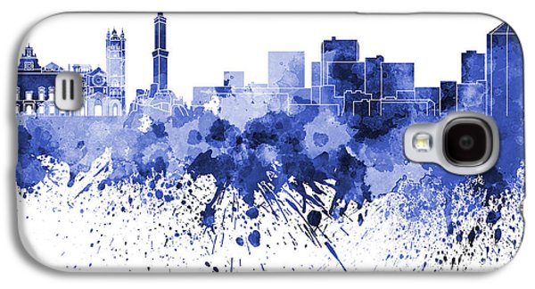 Genoa Skyline In Blue Watercolor On White Background Galaxy S4 Case by Pablo Romero