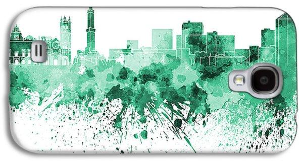 Genoa Skyline In Green Watercolor On White Background Galaxy S4 Case by Pablo Romero