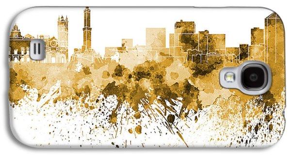 Genoa Skyline In Orange Watercolor On White Background Galaxy S4 Case by Pablo Romero