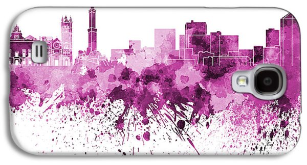 Genoa Skyline In Pink Watercolor On White Background Galaxy S4 Case by Pablo Romero