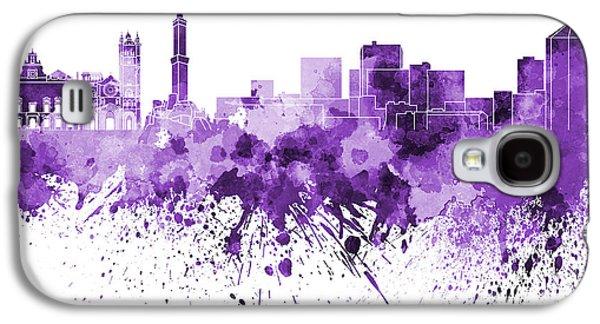 Genoa Skyline In Purple Watercolor On White Background Galaxy S4 Case by Pablo Romero