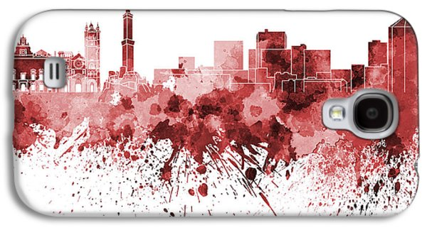 Genoa Skyline In Red Watercolor On White Background Galaxy S4 Case by Pablo Romero