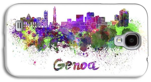 Genoa Skyline In Watercolor Galaxy S4 Case by Pablo Romero