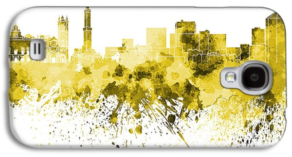 Genoa Skyline In Yellow Watercolor On White Background Galaxy S4 Case by Pablo Romero