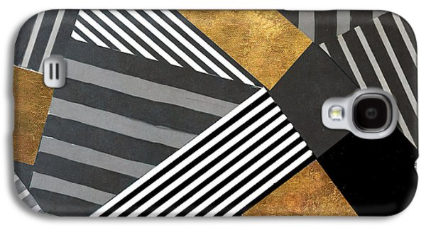 Geo Stripes In Gold And Black II Galaxy S4 Case by Lanie Loreth