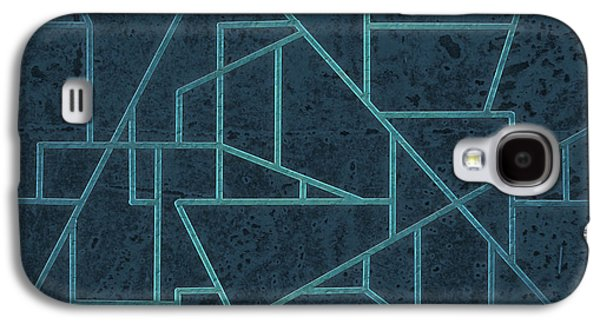 Geometric Digital Art Galaxy S4 Cases - Geometric Abstraction In Blue Galaxy S4 Case by David Gordon